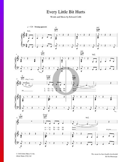 Every Little Bit Hurts Sheet Music
