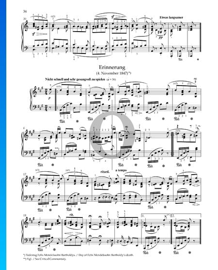 Remembrance, Op. 68 No. 28 Sheet Music