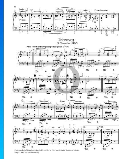 Remembranza, Op. 68 n.º 28 Partitura