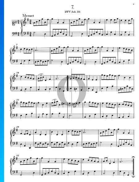 Menuet en Sol Majeur, BWV Anh. 116 Partition