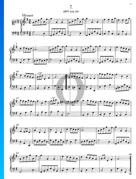 Minueto en sol mayor, BWV Anh. 116 Partitura