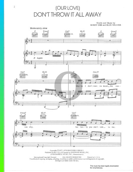 (Our Love) Don't Throw It All Away Sheet Music