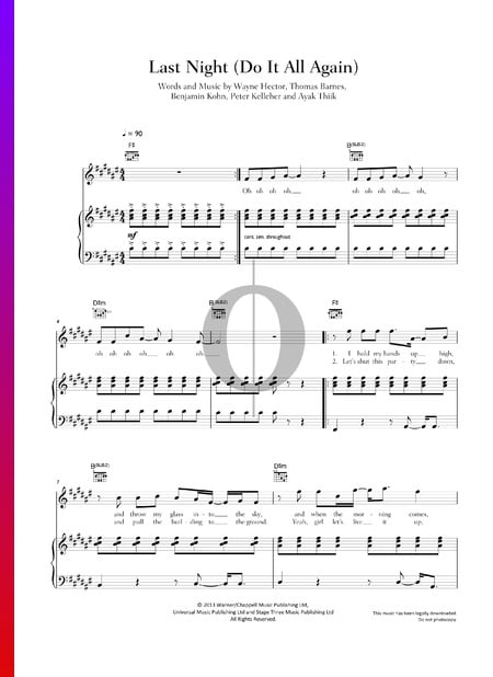 Last Night (Do It All Again) Sheet Music