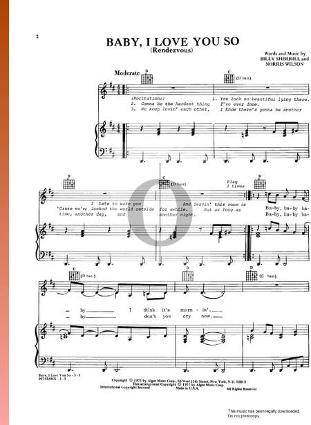 Baby I Love You So (Rendezvous) Sheet Music