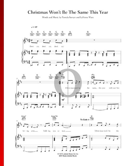 Christmas Won't Be The Same This Year Sheet Music
