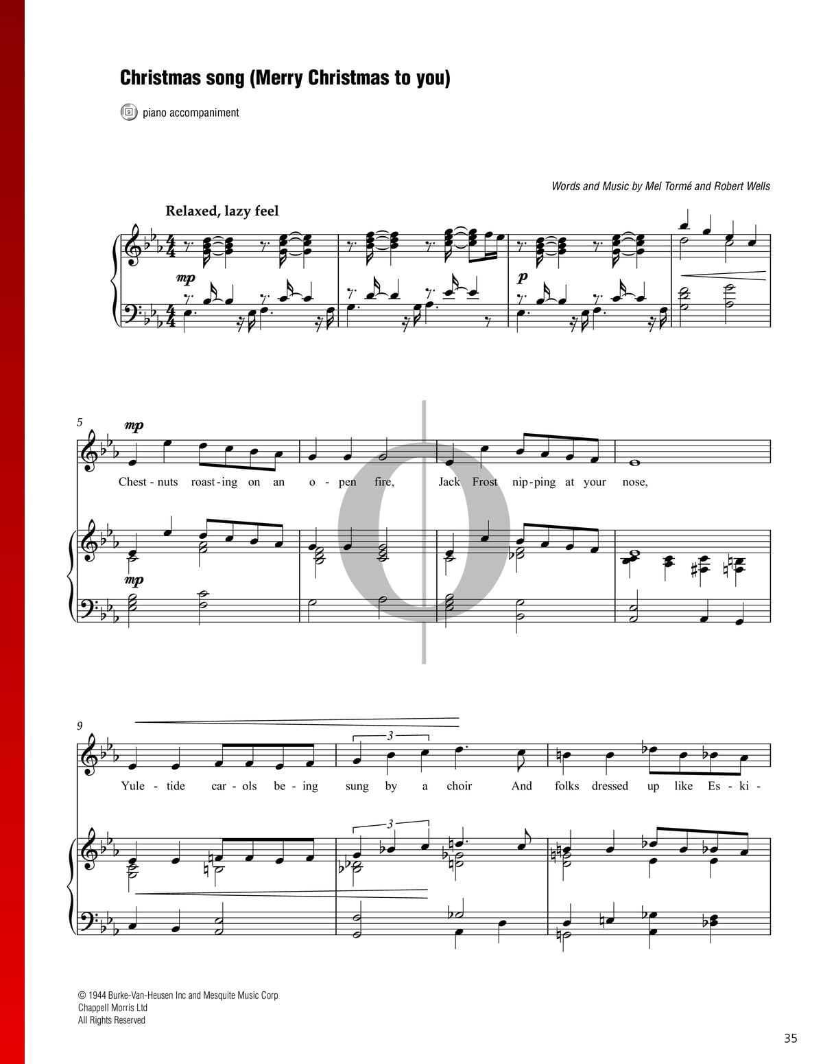 The Christmas Song (Chestnuts Roasting On An Open Fire) Sheet Music (Piano, Voice) - PDF ...