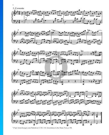 Partita 1, BWV 825: 3. Corrente Musik-Noten