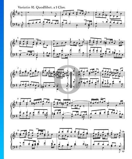 Goldberg Variationen, BWV 988: Variatio 30. Quodlibet. a 1 Clav. Musik-Noten