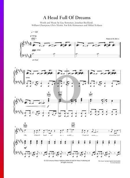 A Head Full Of Dreams Sheet Music