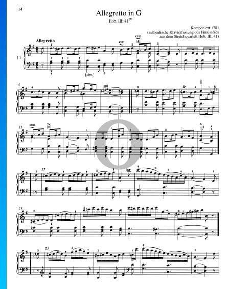 Allegretto in G Major, Hob. III: 41/IV Sheet Music