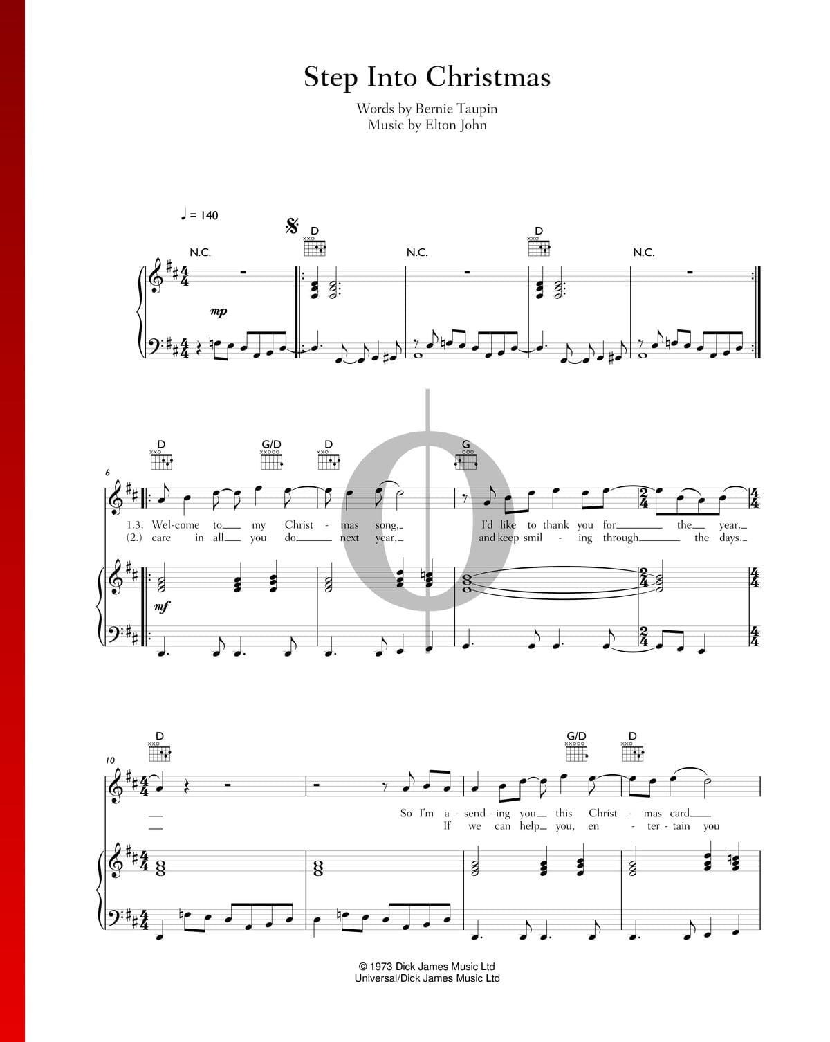 Step Into Christmas.Step Into Christmas Sheet Music Piano Voice Guitar