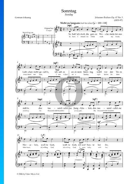 Sunday, Op. 47 No. 3 Sheet Music