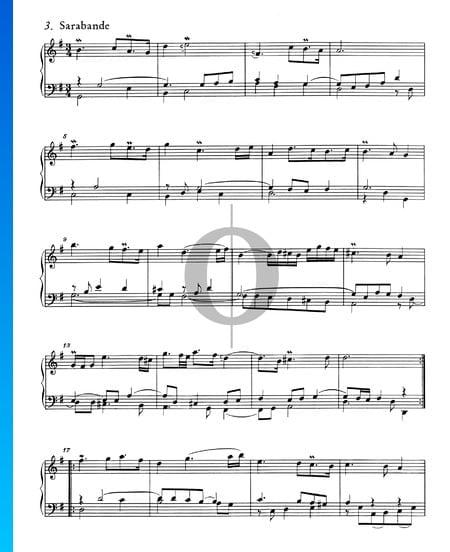 Suite Française No. 5 Sol Majeur, BWV 816: 3. Sarabande Partition