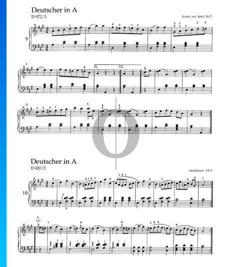 Deutscher in A-Dur, D 972/3 Musik-Noten