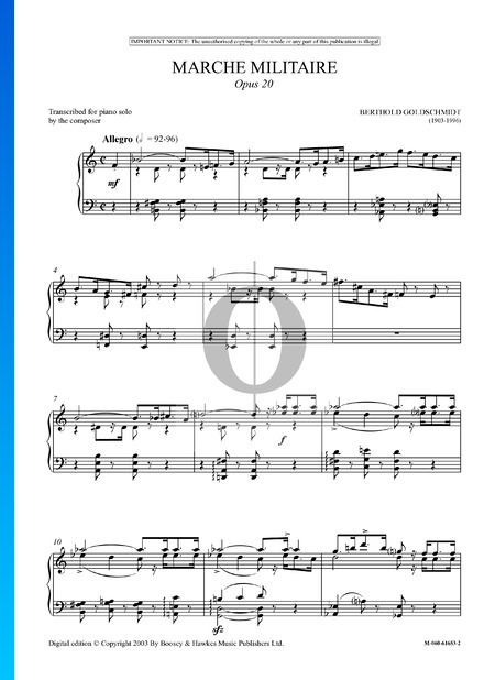 Marche Militaire, Op. 20 Sheet Music