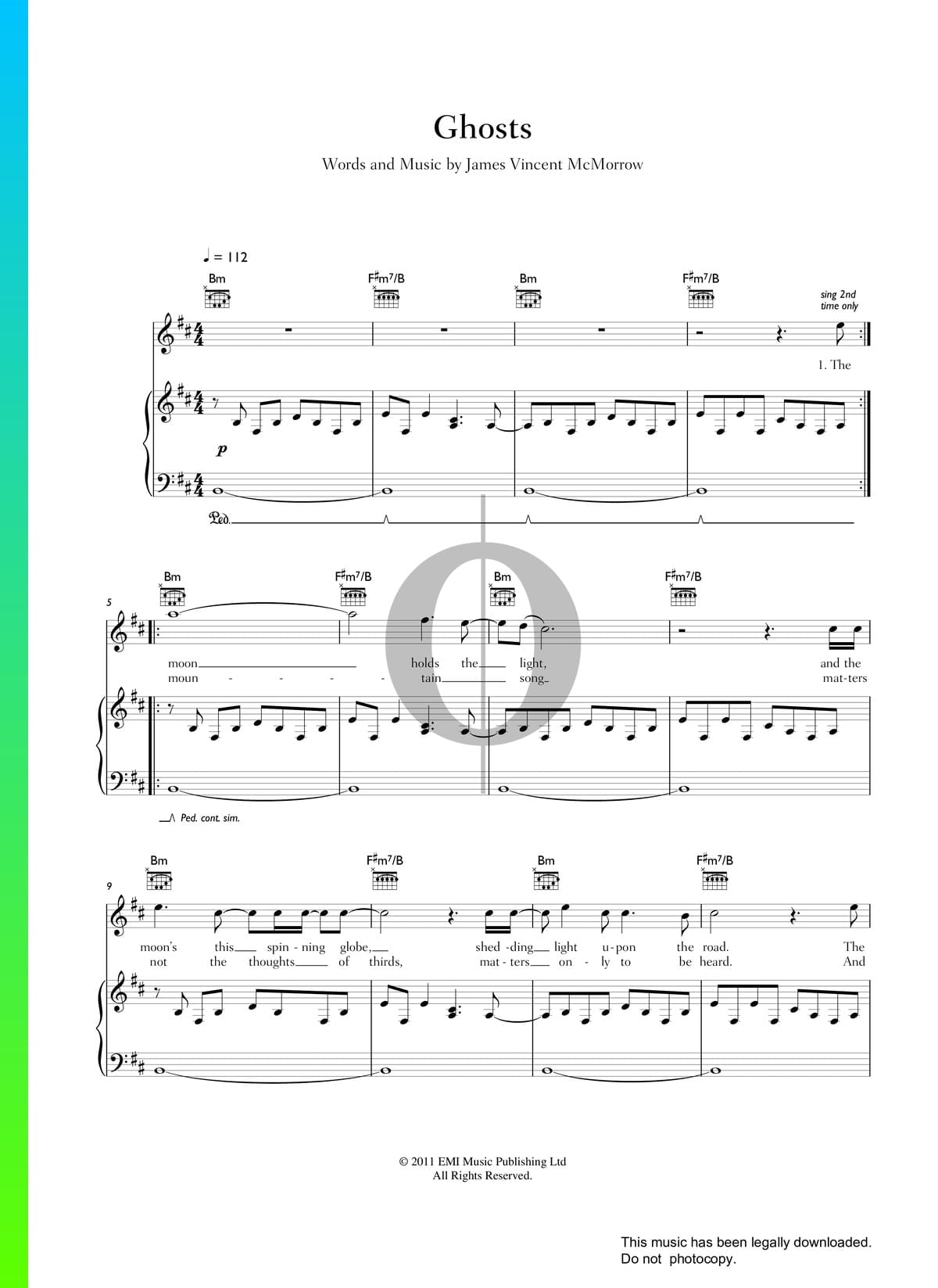 ▷ ghosts sheet music (piano, voice, guitar) - pdf download & streaming -  oktav  oktav
