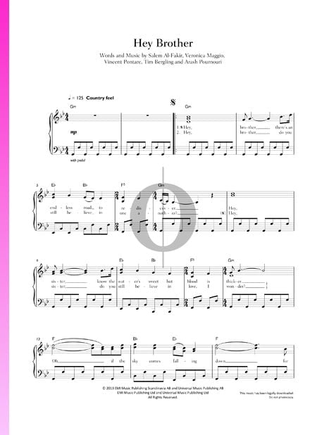 Hey Brother Sheet Music