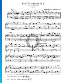 12 Variations en Si bémol Majeur, KV 500