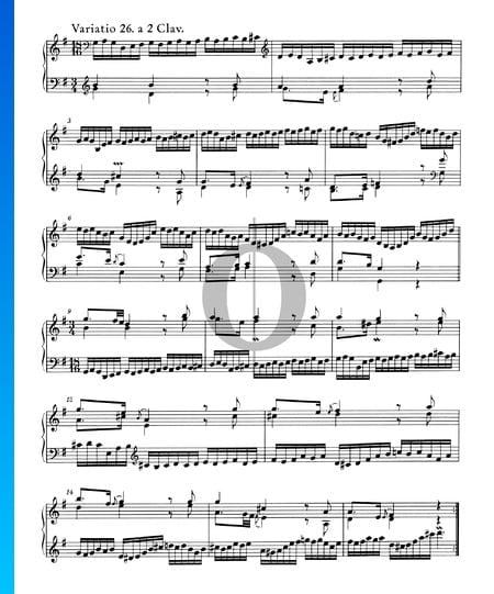 Goldberg Variationen, BWV 988: Variatio 26. a 2 Clav. Musik-Noten