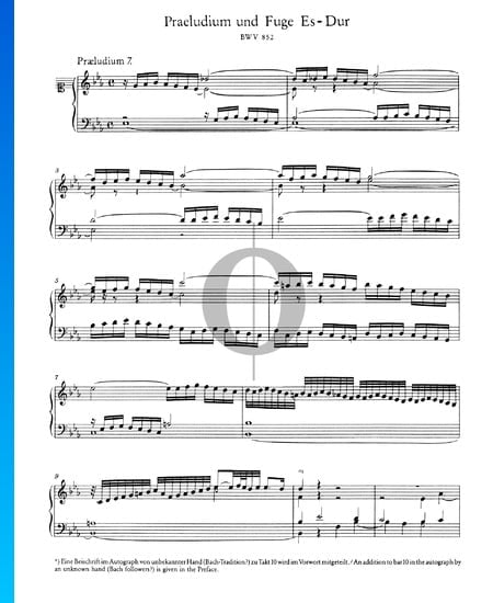 Preludio 7 en mi bemol mayor, BWV 876 Partitura