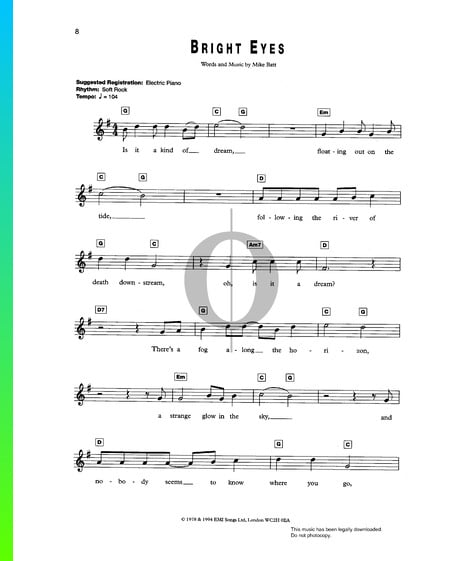 Bright Eyes Musik-Noten