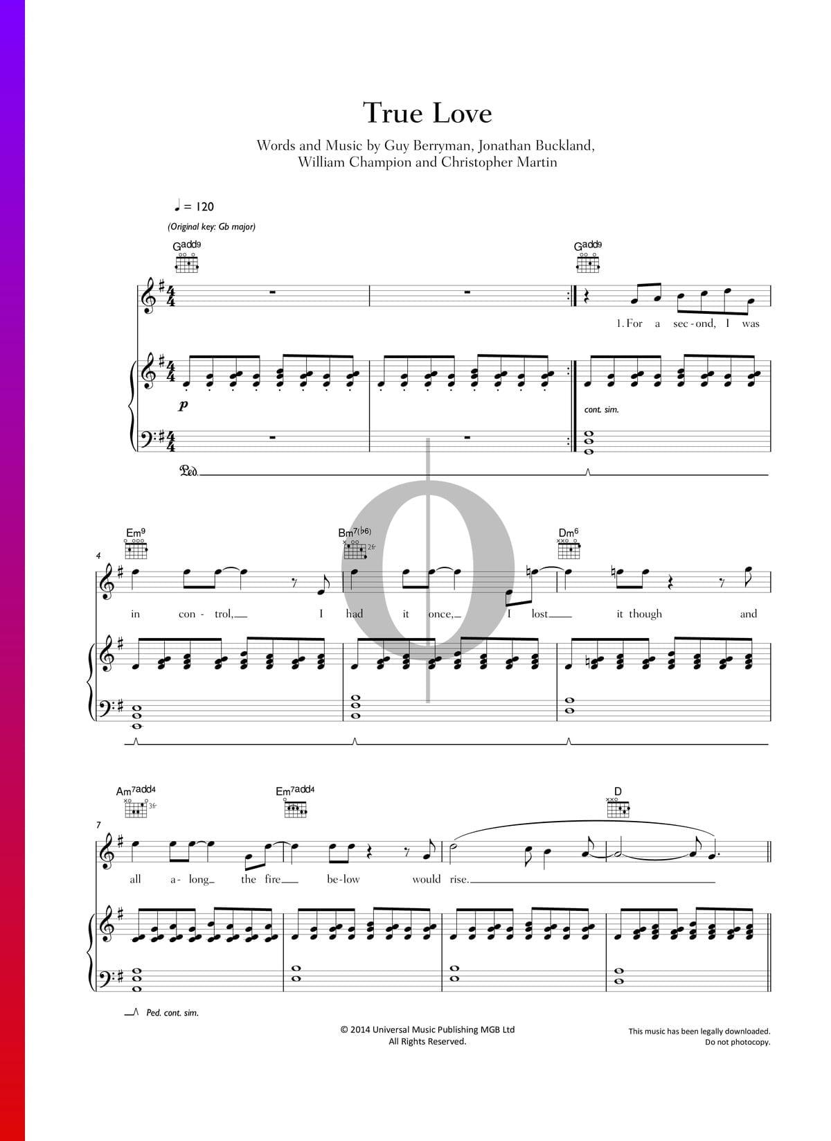 ▷ True Love Sheet Music (Piano, Voice, Guitar) - PDF