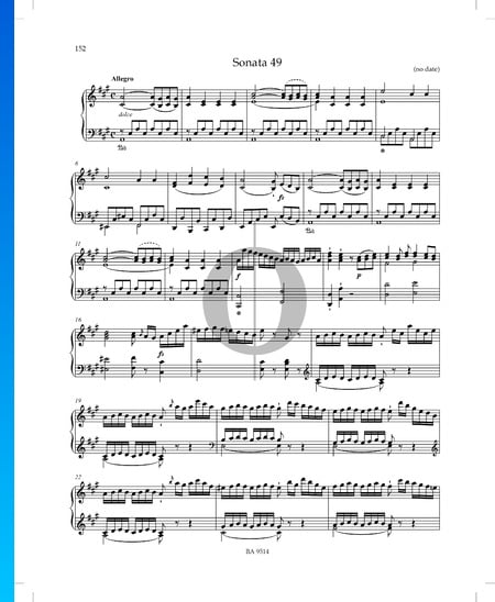 Sonata in A Major, P. XII: 44: 1. Allegro Sheet Music