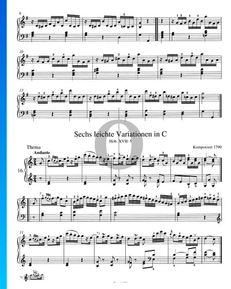 Six Easy Variations in C Major, Hob. XVII:5 Sheet Music