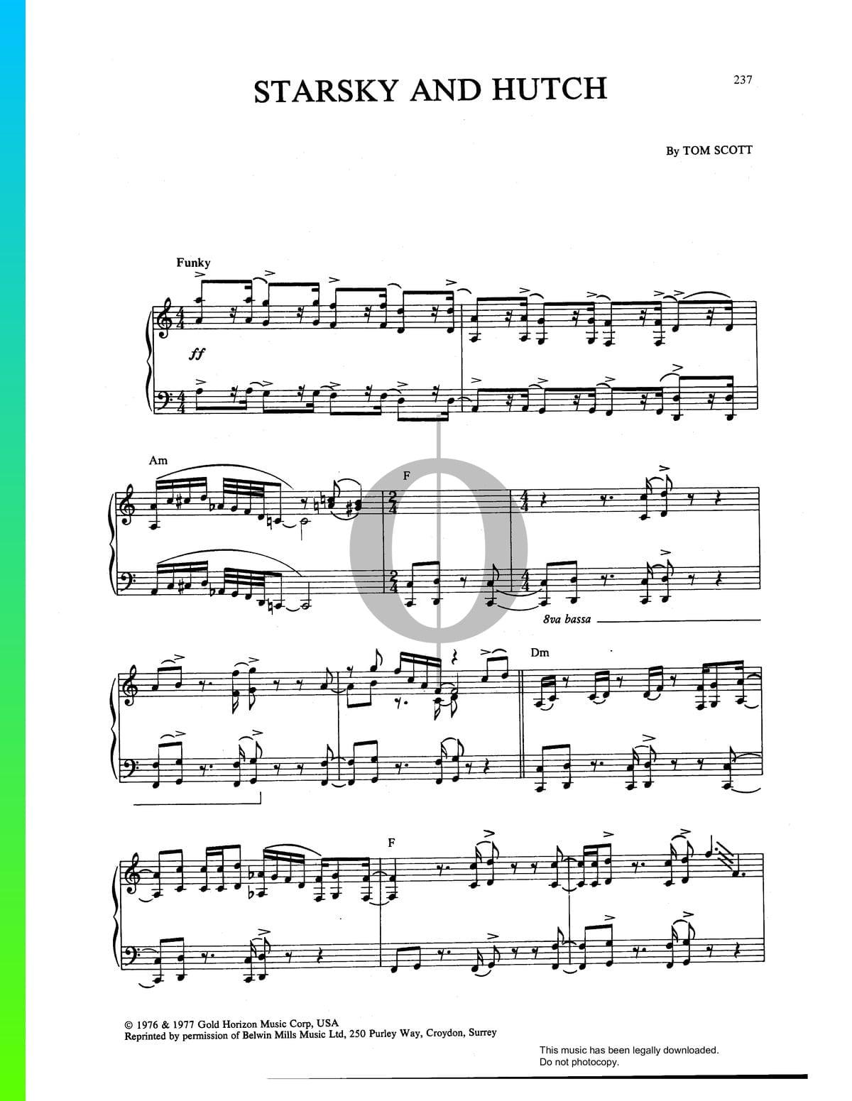 Starsky And Hutch Noten Piano Solo Pdf Download Streamen