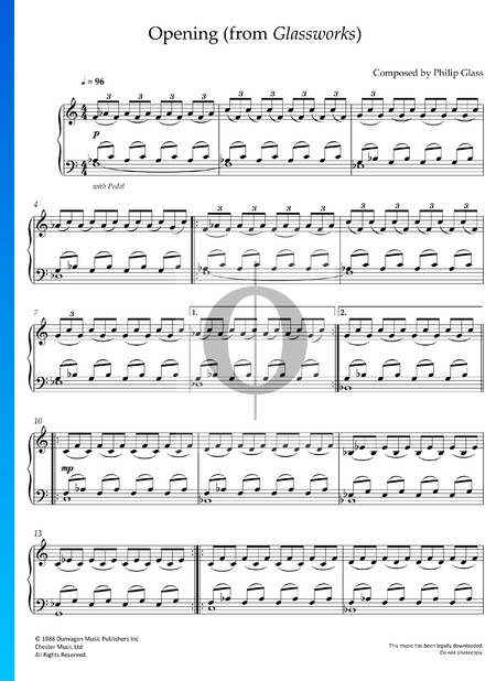 Glassworks: 1. Opening Sheet Music