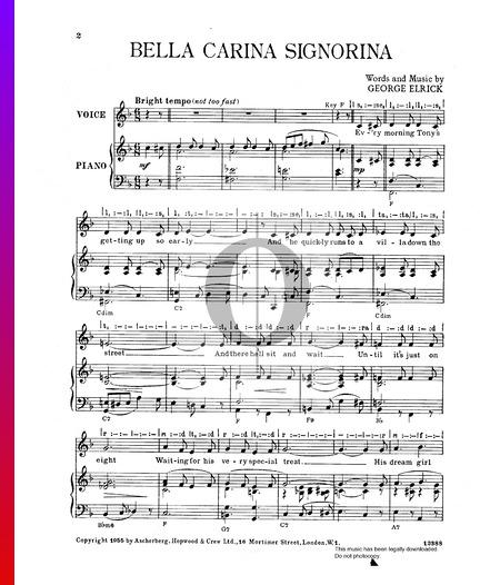 Bella Carina Signorina Musik-Noten
