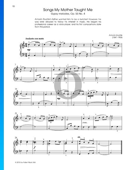 Gypsy Melodies, Op. 55, No. 4.: Songs My Mother Taught Me Sheet Music