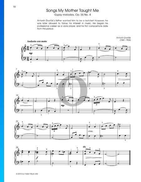 Melodías gitanas, Op. 55, n.º 4.: Canciones que mi madre me enseñó Partitura