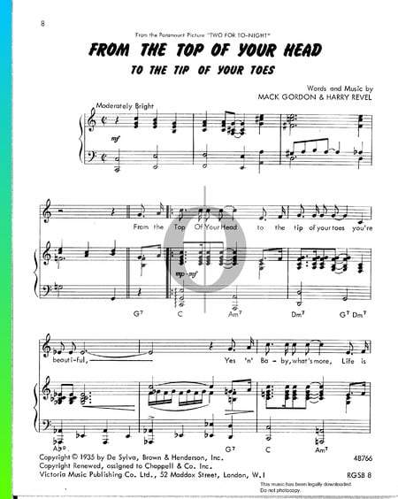 From The Top Of Your Head (To The Tip Of Your Toes) Sheet Music