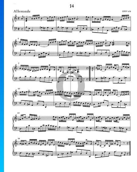 Allemande a-Moll, HWV 478 Musik-Noten