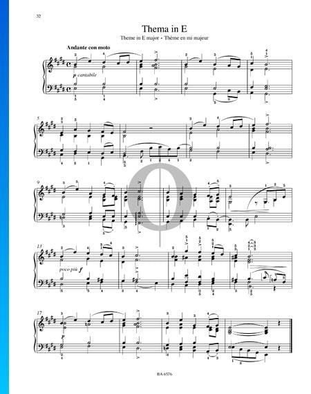Theme in E Major Sheet Music