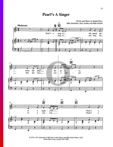 Pearl's A Singer Sheet Music