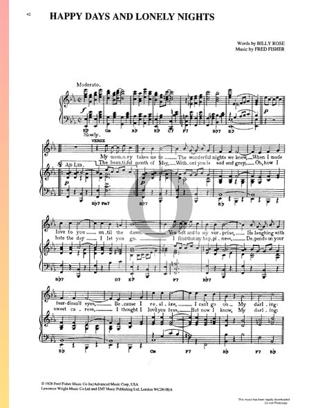 Happy Days And Lonely Nights Sheet Music