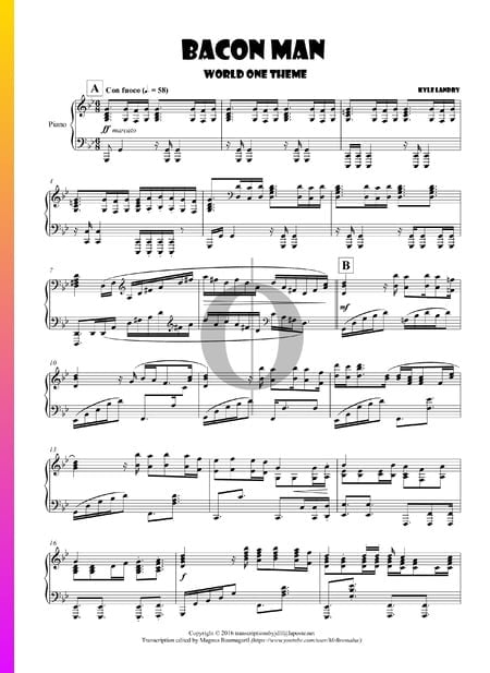 Bacon Man - World One Theme Sheet Music