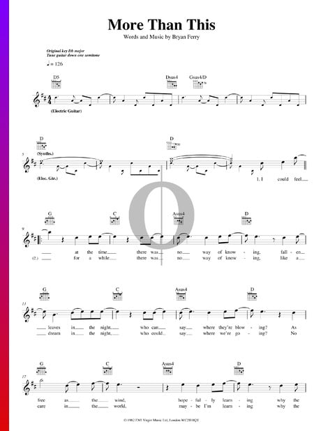 More Than This Partitura