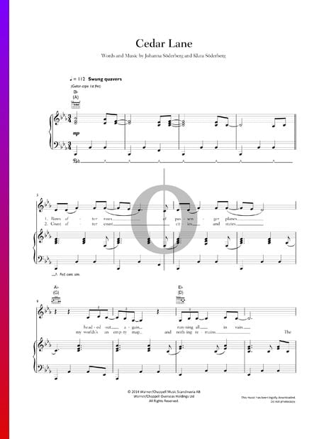Cedar Lane Sheet Music