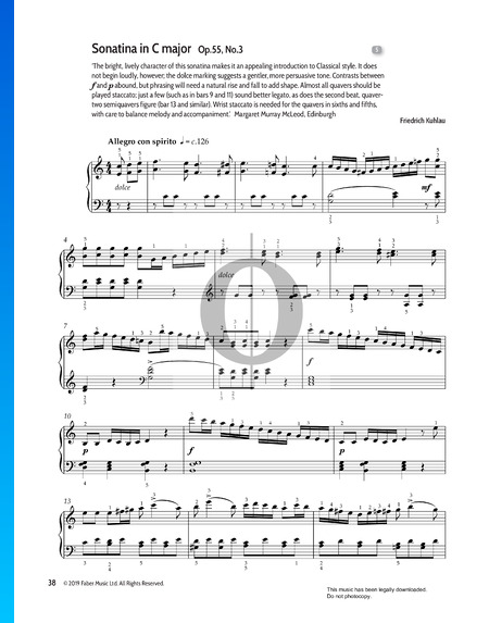 Sonatina in C Major, Op.55 No.3 Sheet Music