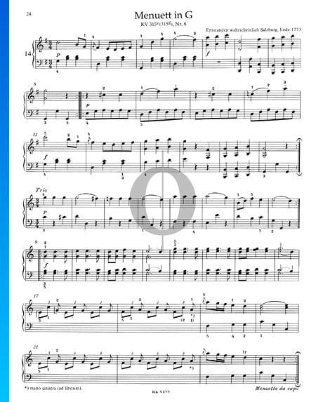 Menuett in G-Dur, KV 315a (315g), Nr. 8 Musik-Noten