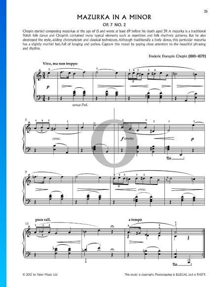 Mazurka in A Minor, Op. 7 No. 2 Sheet Music
