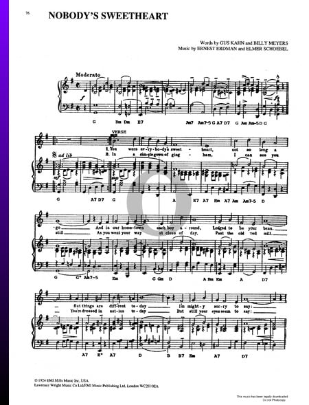 Nobody's Sweetheart Musik-Noten