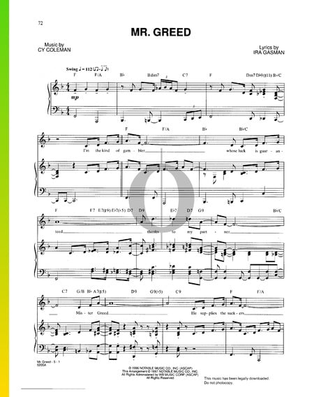 Mr Greed Musik-Noten