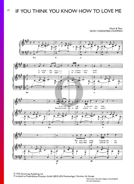 If You Think You Know How To Love Me Sheet Music