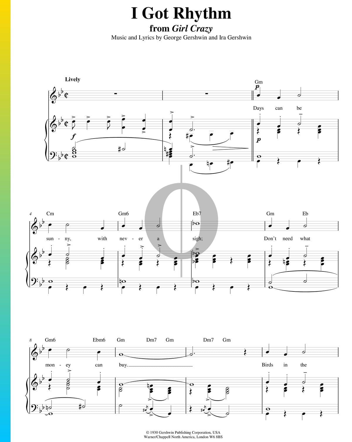 ▷ I Got Rhythm Sheet Music (Piano, Voice, Guitar) - PDF Download