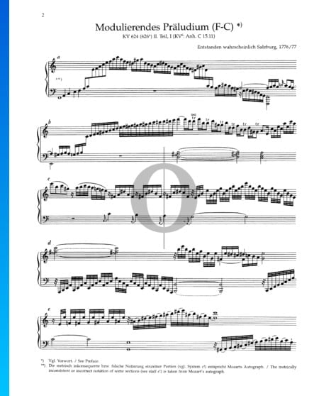 Prélude Modulant (Fa Majeur-Do Majeur), KV 624 (626a) Partition