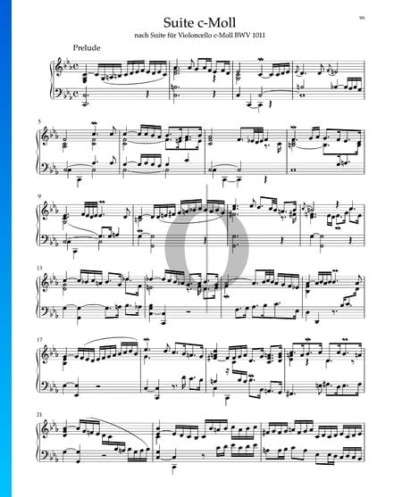 Suite in C Minor, BWV 1011: 1. Prelude Sheet Music